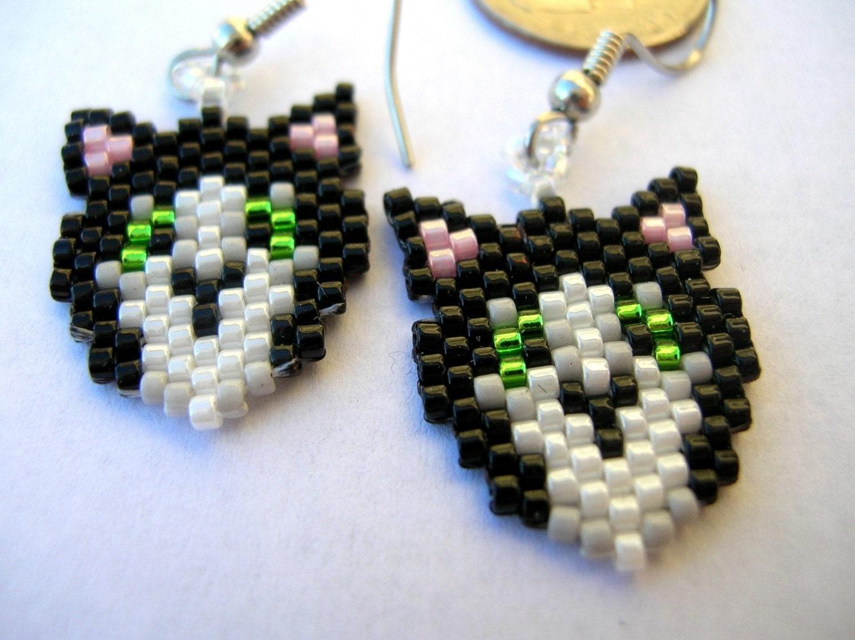 Cute little cat head delica seed bead dangle earrings