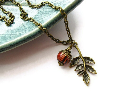 Acorn Necklace in Antique Brass with Wood Bead and Oak Branch Charm - Autumn Acorn - heversonart
