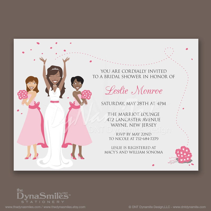 Bridal Party - Bridal Shower Invitations - African American