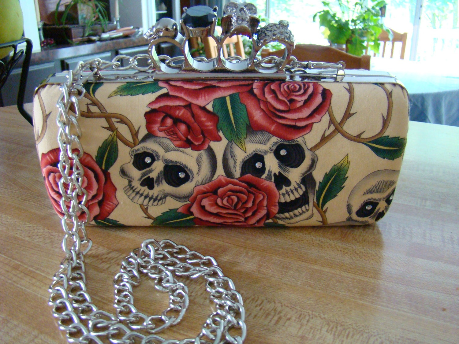 Skull Knuckle Clutch Purse - Tea stained with pink roses and grey skulls