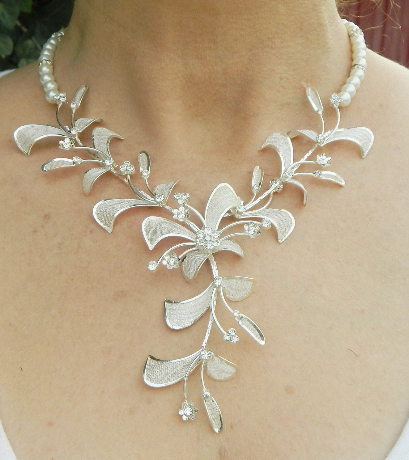 "Wedding jewelry Silver Orchid and Swarovski Pearl Wedding Bridal Necklace Set ""Julia"""