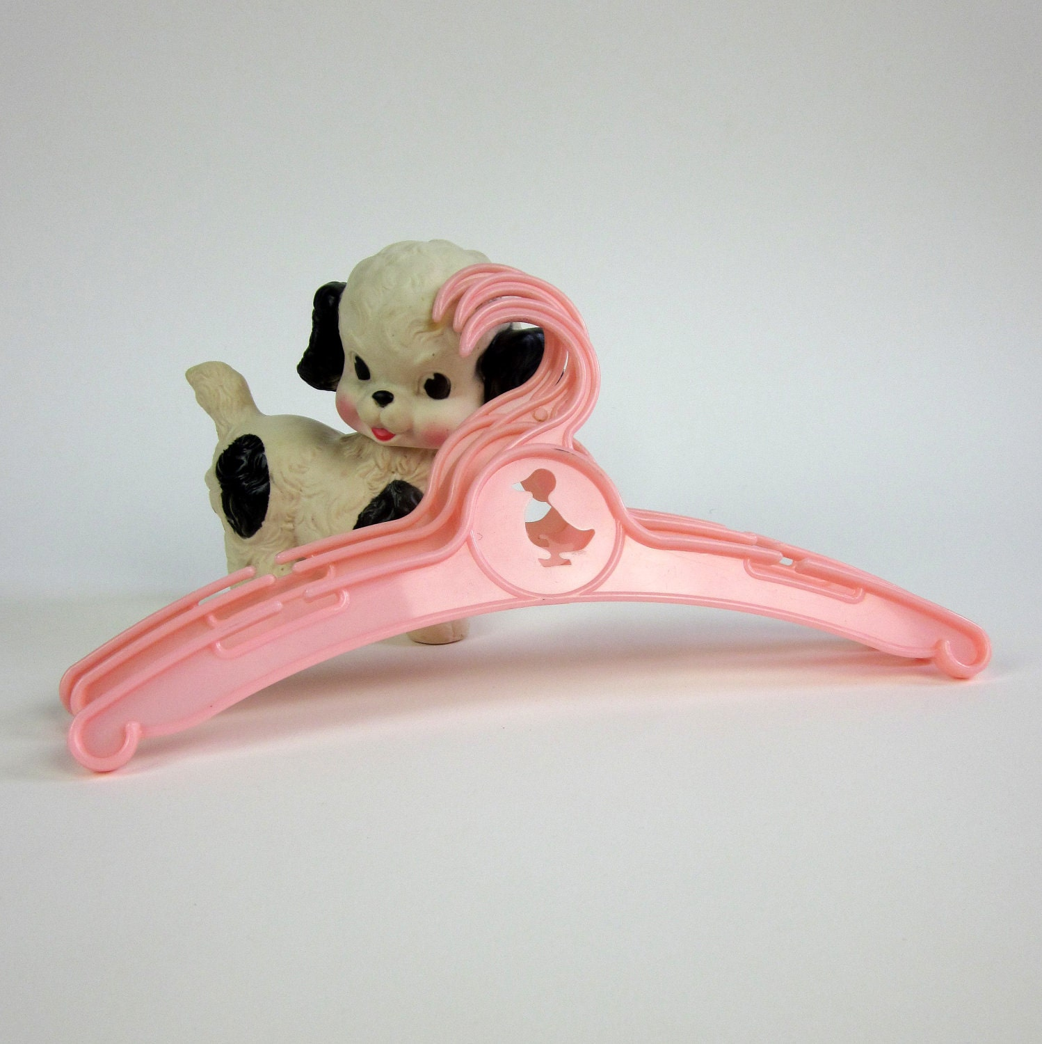 Pink Baby Clothes Hangers 50s / Duckie Cut Out / Set of 3 - OopseeDaisies