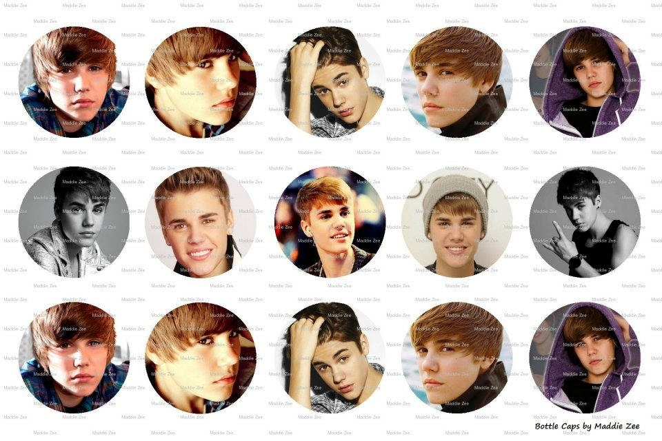 "15 Justin Bieber Inspired Images Digital Download for 1"" Bottle Caps (4x6)"