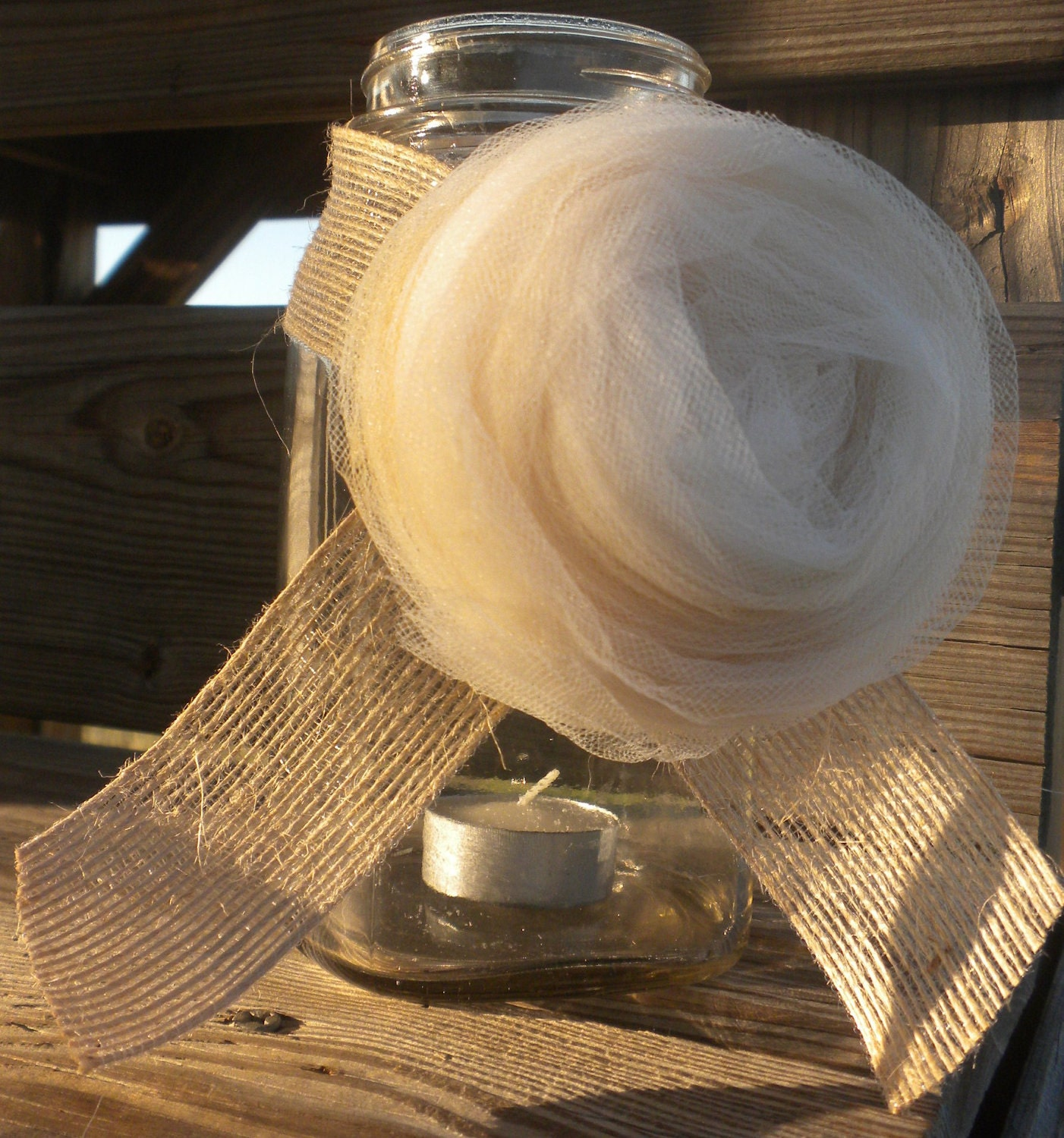 Rustic and Country Chic Vintage Inspired Tulle Rose with Burlap Accent Wedding Decor
