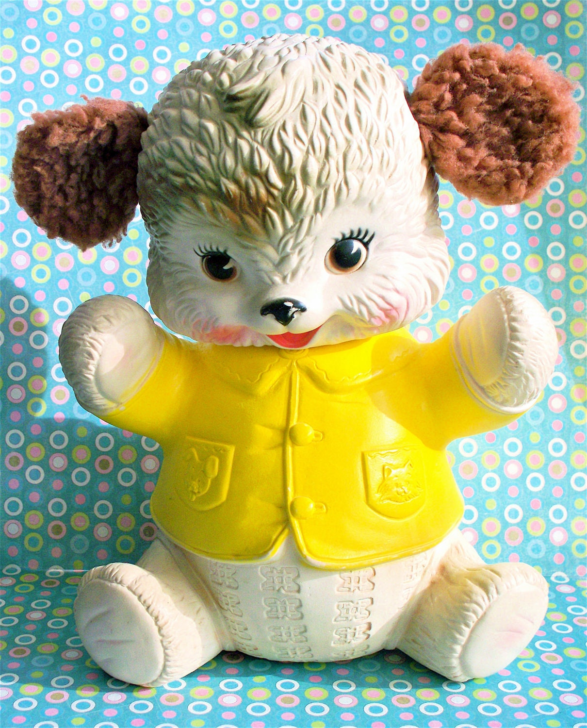 Vintage  Kitsch RARE Early Edward Mobley Co. 1962 Squeaky Bear with Fleecy Fuzzy  Ears Aarow Rubber and Plastic Corp.