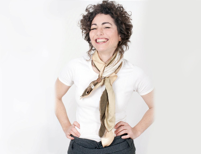 Unique Beige Scarf Women Tie Style - studiolana