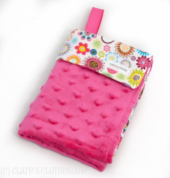 Baby Lovey Blanket - Multicolored Flowers and Hot Pink Minky - Ready to Ship