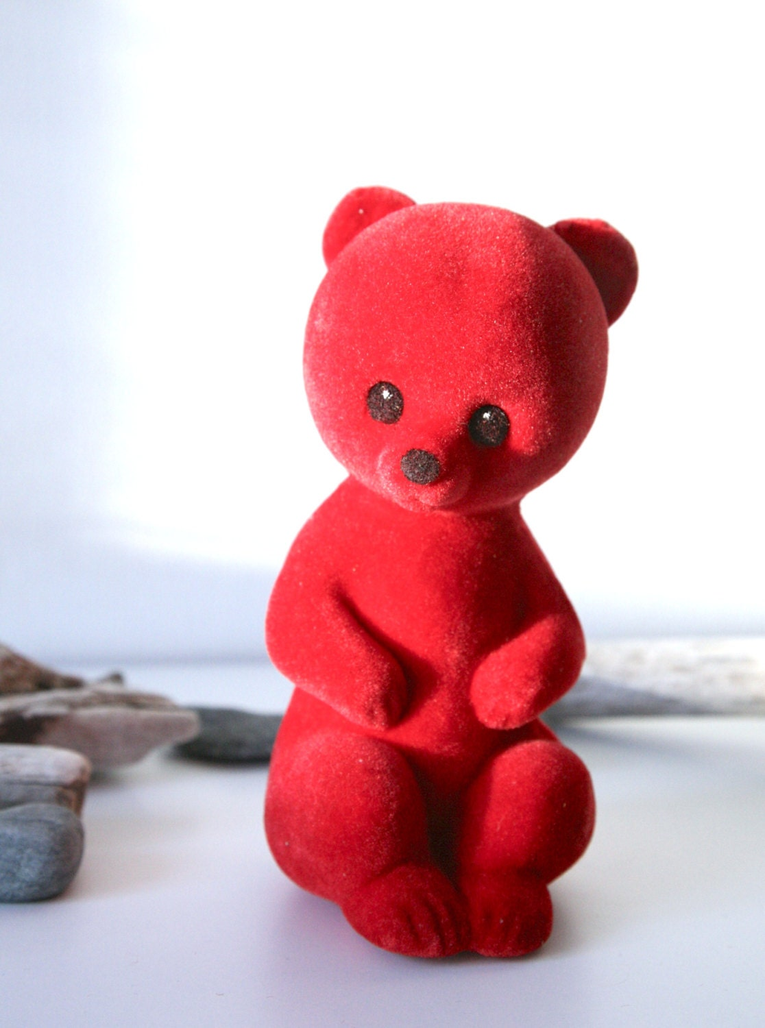 Vintage Flocked Toy Red Russian Bear Misha 1970s - TwoRedSuitcases