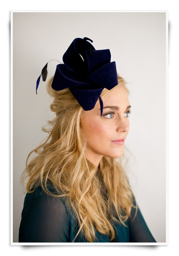 Fall 2011 Hats- Style 7- Cheery Bow and Feather Fascinator