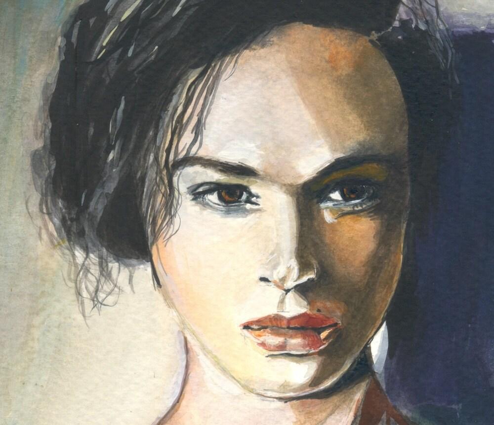 Vivienne -portrait painting  - original gouache painting - portrait - fine art - custom portrait