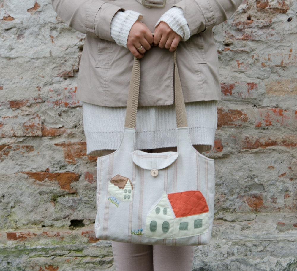 Canvas Tote with Houses - Applique Natural Cotton Bag - Cotton Tote with Pocket and Lining - Bag on Button - READY TO SHIP - GingerStore