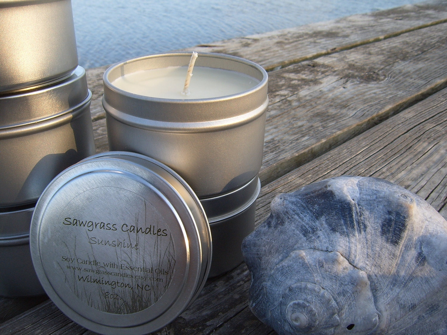 Sunshine - 6oz Soy Wax Candle in Travel Tin scented only with Essential Oils - sawgrasscandles
