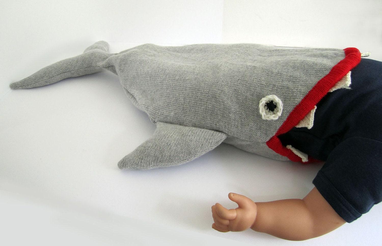Baby Shark Sleeping Bag - Handmade Knitted Baby Costume, 0-12mths