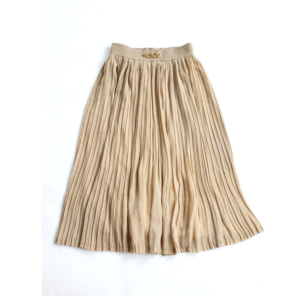 vintage 1970's skirt CHIFFON GOLD sheer pleated midi