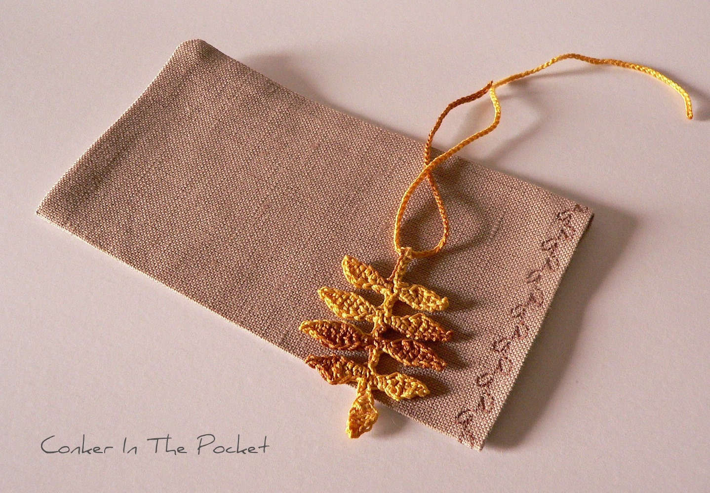 Linen gift bag with crocheted woodland autumn by ConkerInThePocket
