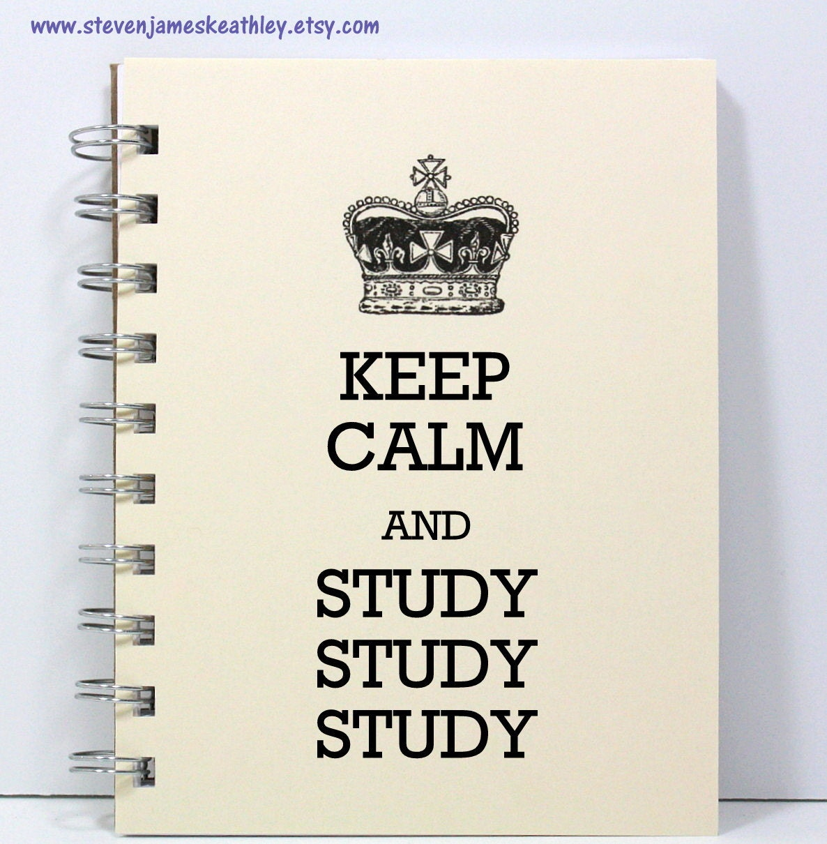 Student Journal Notebook Diary Sketch Book - Keep Calm and Study Study Study - Ivory