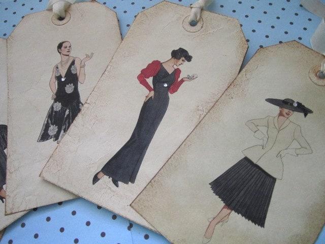 II Потертый леди Couture Метки Набор из 6