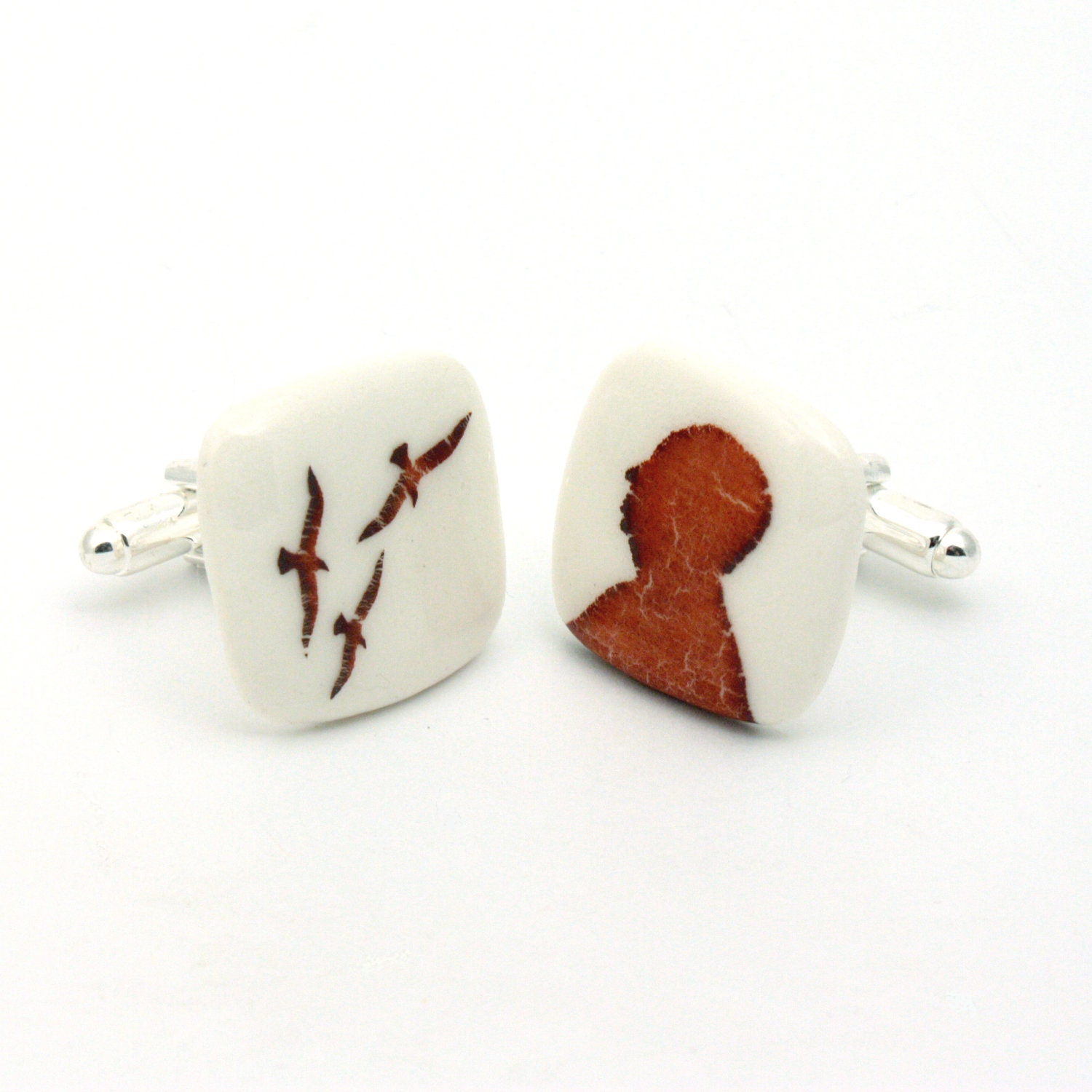 Alfred Hitchcock Cuff Links Silhouette The Birds Horror Movie on White Porcelain Handmade  Psychological Thriller