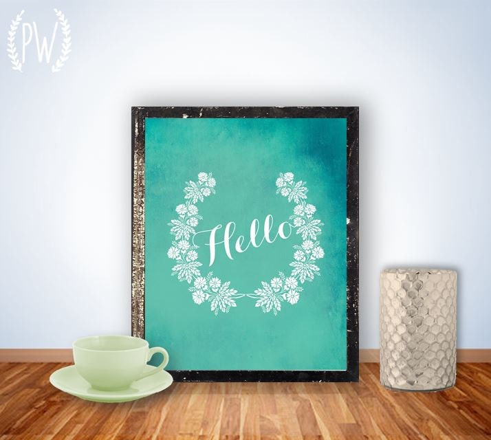 Printable art wall decor poster, laurel calligraphy typography digital printables custom nursery children's room - Hello - PrintableWisdom