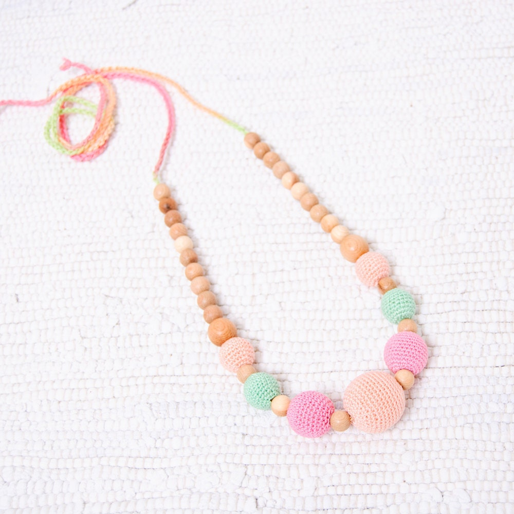 All Natural Jewelry - Nursing Necklace / Teething Necklace - peach, candy pink and mint green, soft pastel colors