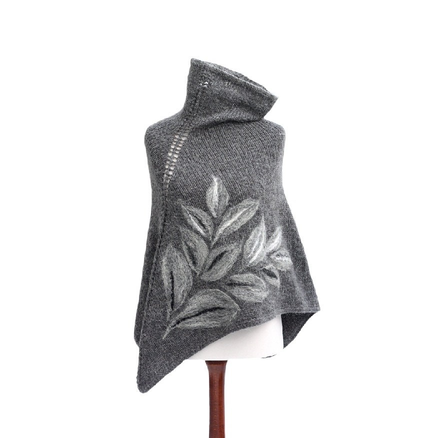 Gray hand knitted poncho with felted leaves made of alpaca, acrylic and mohair, cowl neck, warm and elegant