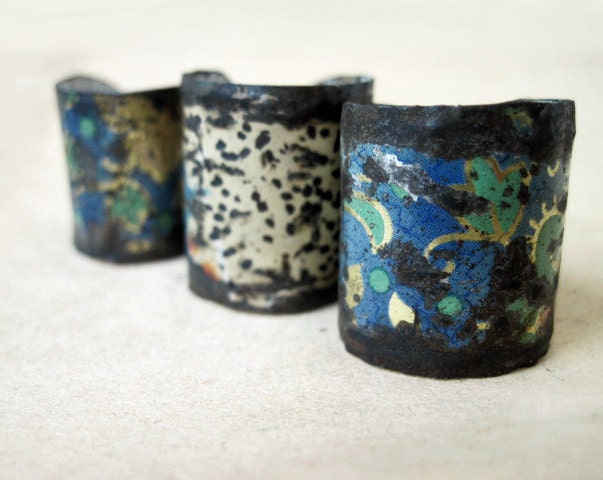 Pinchbeck. Recycled Tin Adjustable Ring Set.