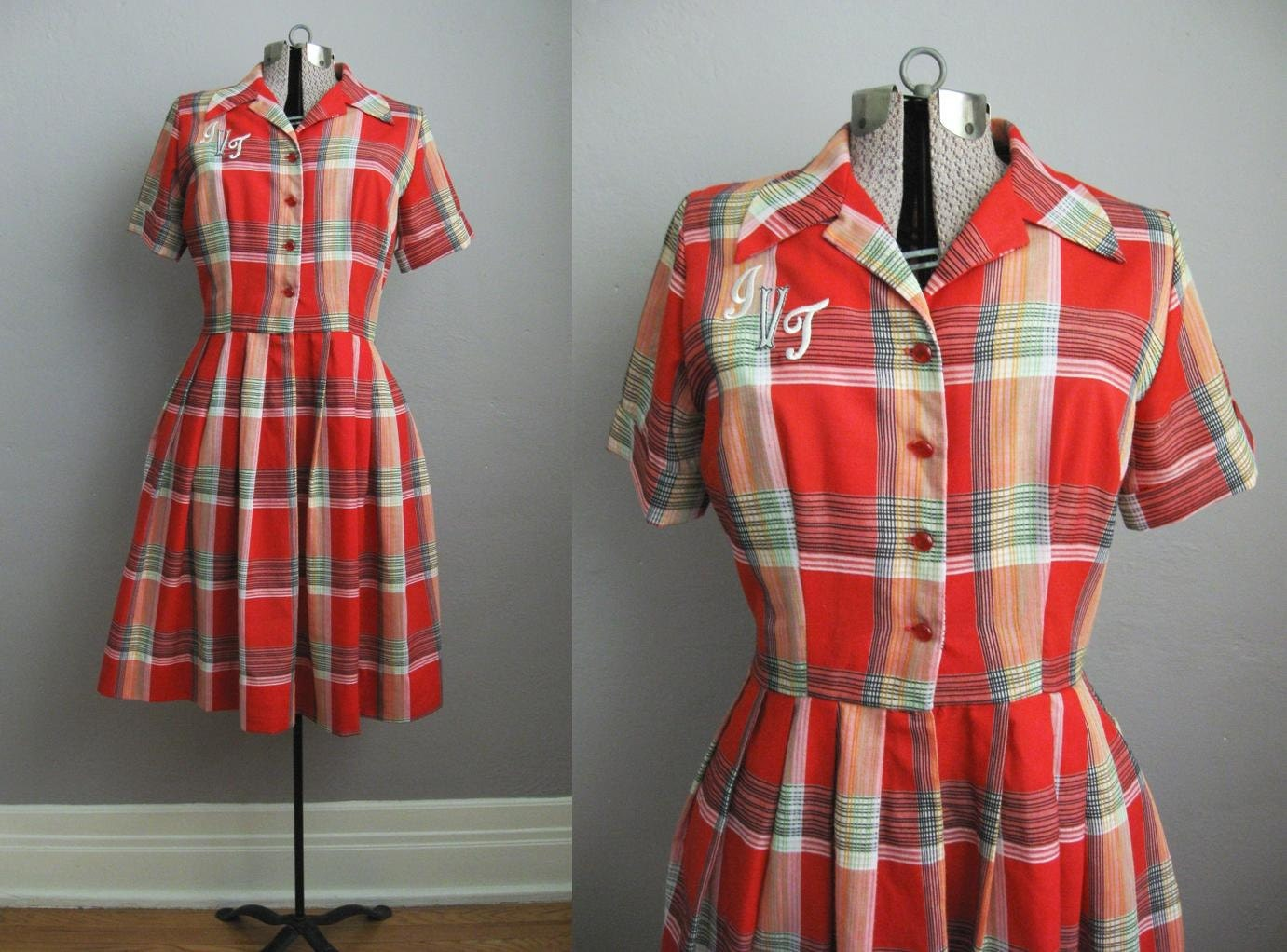 50s Dress / 1950s Shirtwaist Dress / Coral Red Plaid Cotton Dress