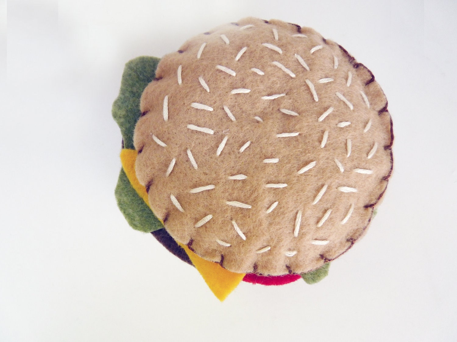 Fia's Burger - Handsewn Felt Plush Hamburger - Perfect for Summer, Birthdays, Any Occassion