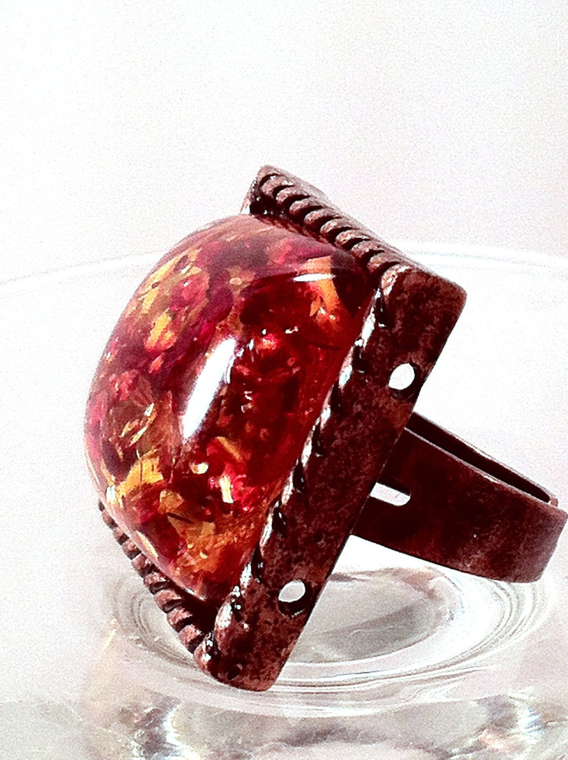 Ring Adjustable Copper Quirky Fun Statement Resin - ConstantlyUnfolding