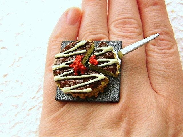 Kawaii Симпатичные японские Кольцо - Okonomiyaki - Японский вкусных блинов