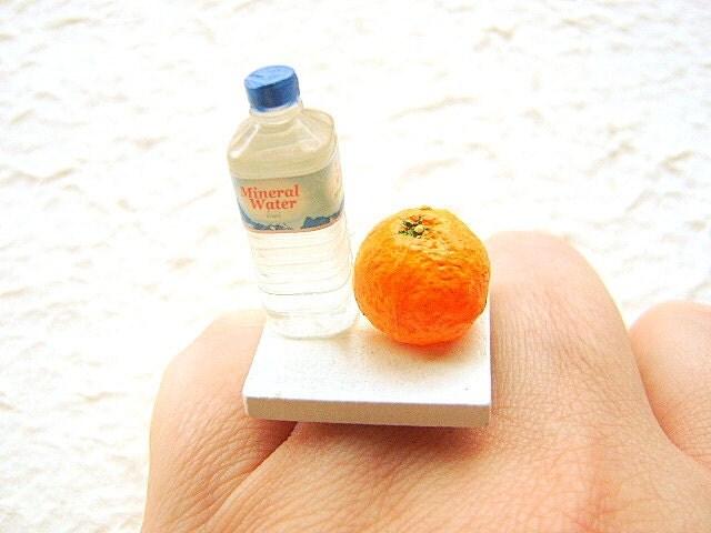 Kawaii Miniature Food Ring Water And An Orange