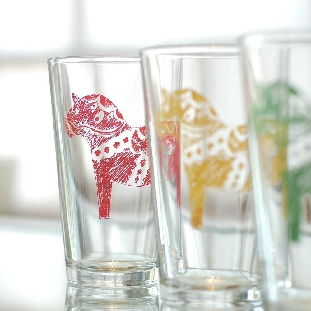 Dala Horse, screen printed glassware, multi color, set of 8 pint glasses