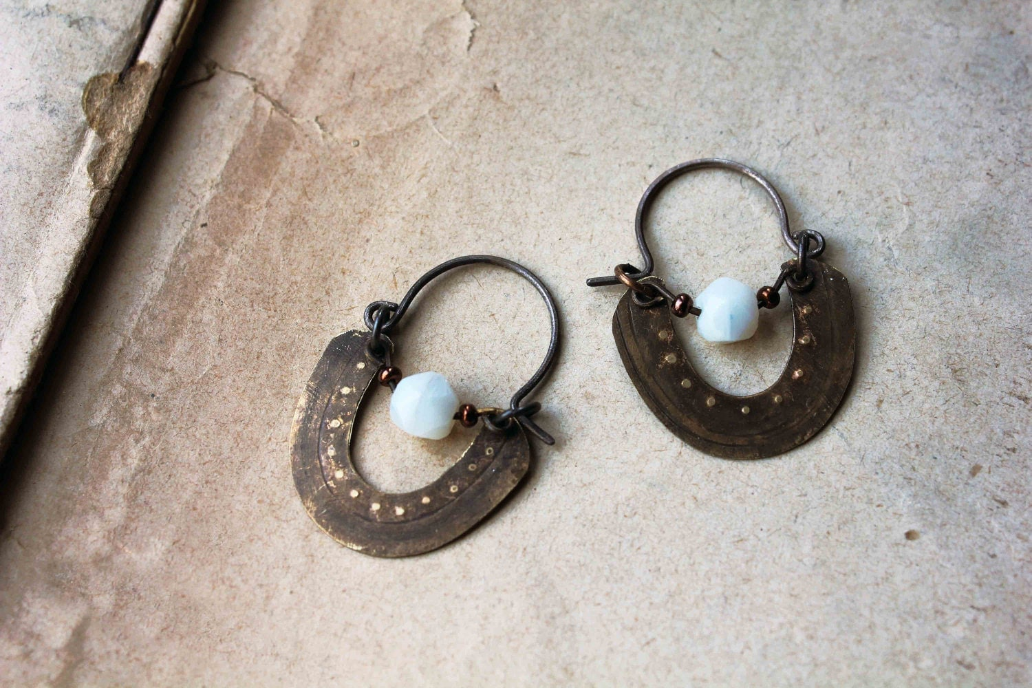 Byzantines hoops textured brass ethnic boho chic earrings