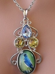 Bluebird Pendant Necklace(sku421) - mccustomjewelry