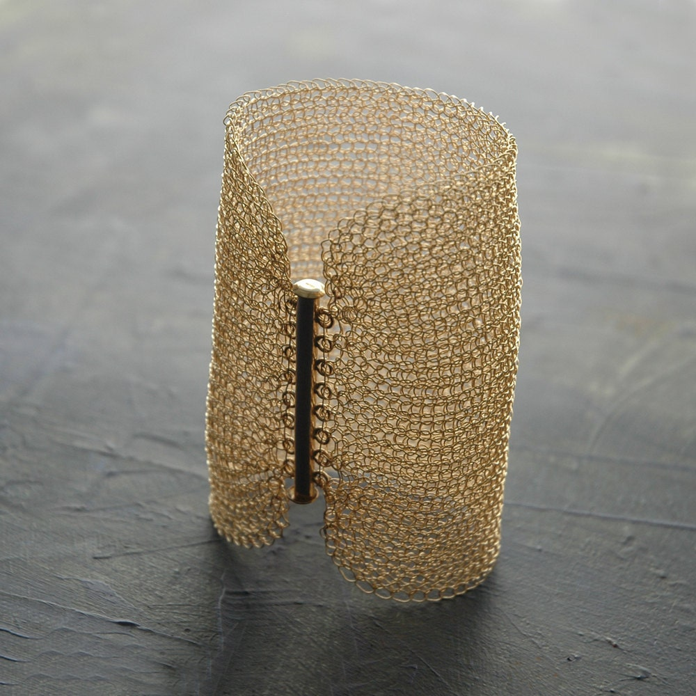Cleopatra Gold filled CUFF crocheted withgold filled wire  - 4 inch wide , will be made to your size