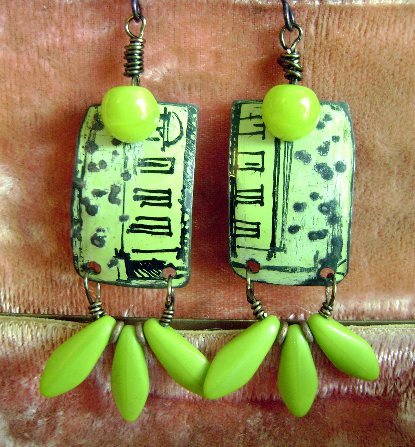 Lime green recycled vintage tin earrings by Anvil Artifacts