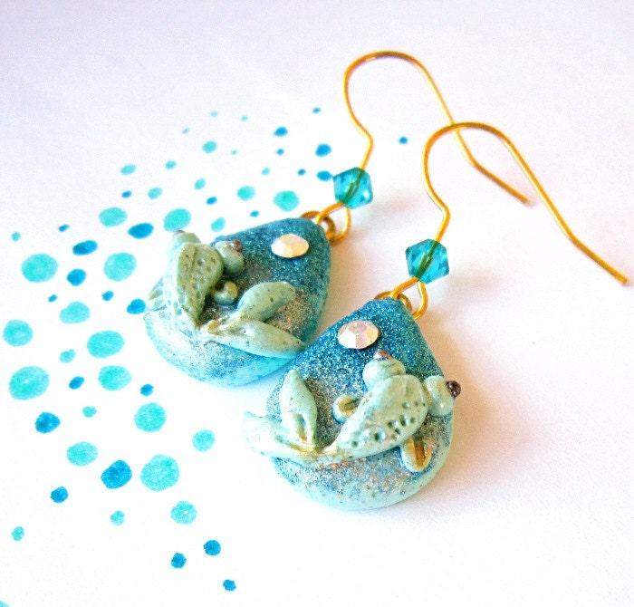 Koi fish jewelry, Teal mint clay earring, OOAK jewelry