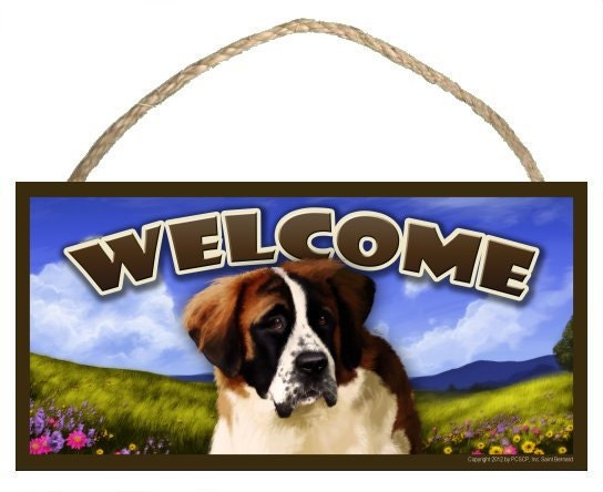 "Saint Bernard Spring Season 10"" x 5"" Wooden Welcome Sign"