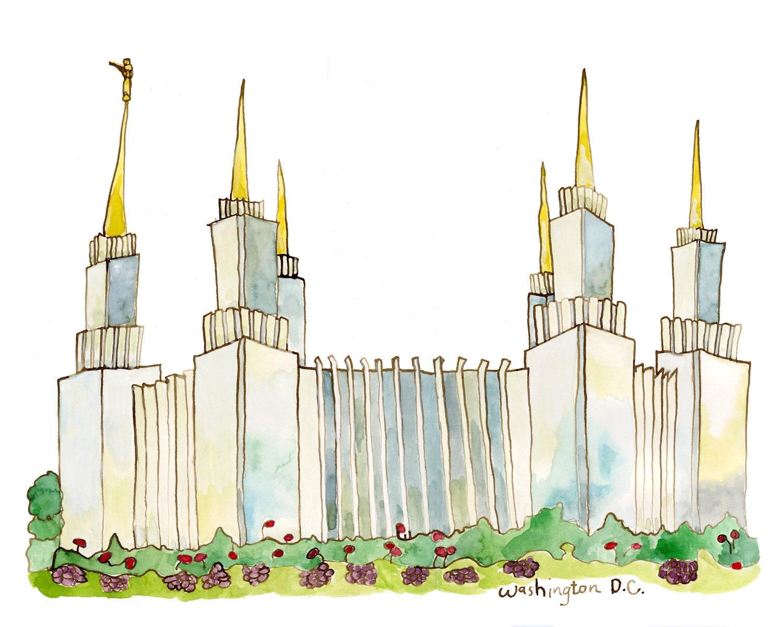LDS Mormon Washington DC Temple watercolor painting, 8x10