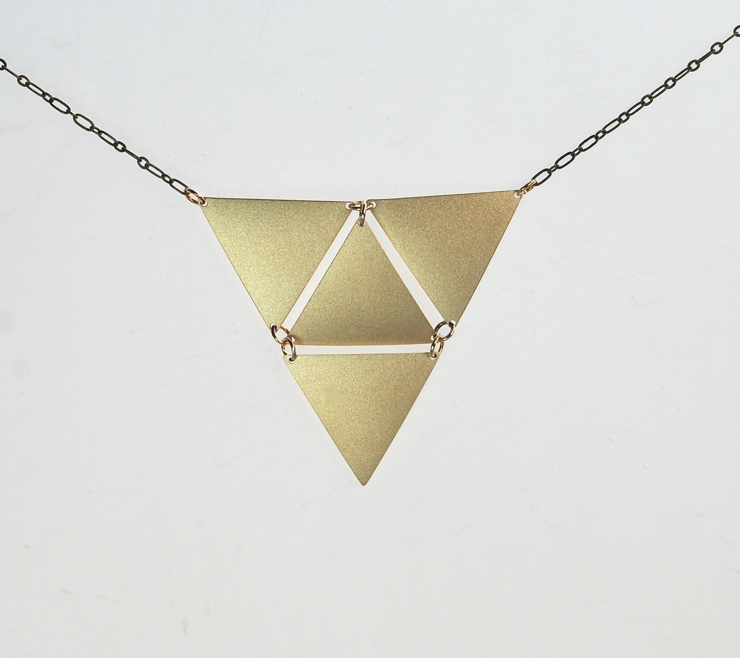 Triangle in Triangle Golden Necklace - ThePolkadotMagpie