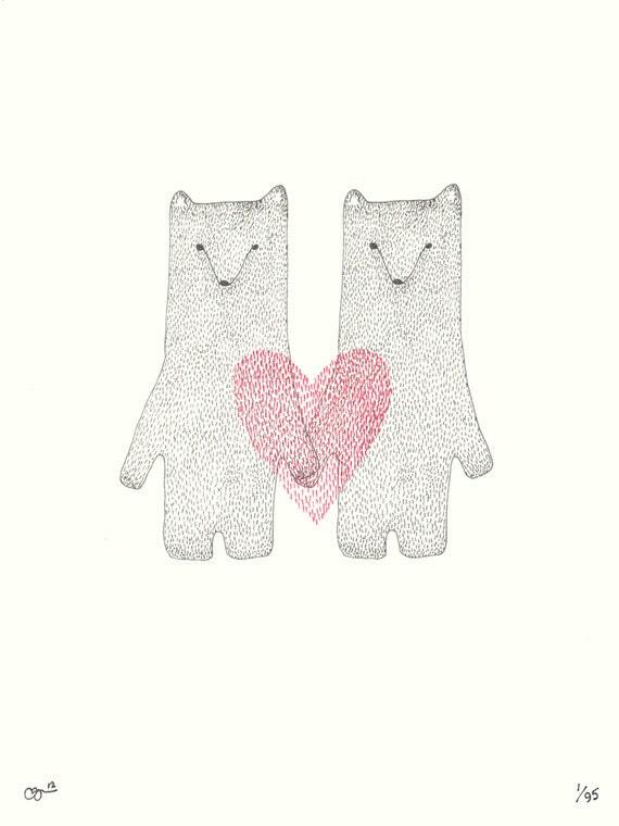 Valentine Bears II Print