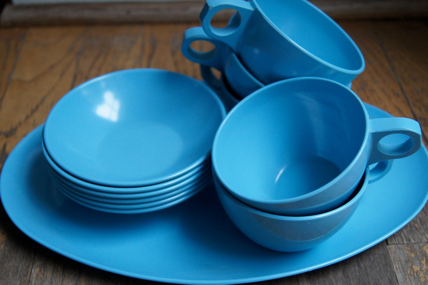 Blue melmac, Blue melamine, Blue Allied Chemical dish set, Glamping dish set