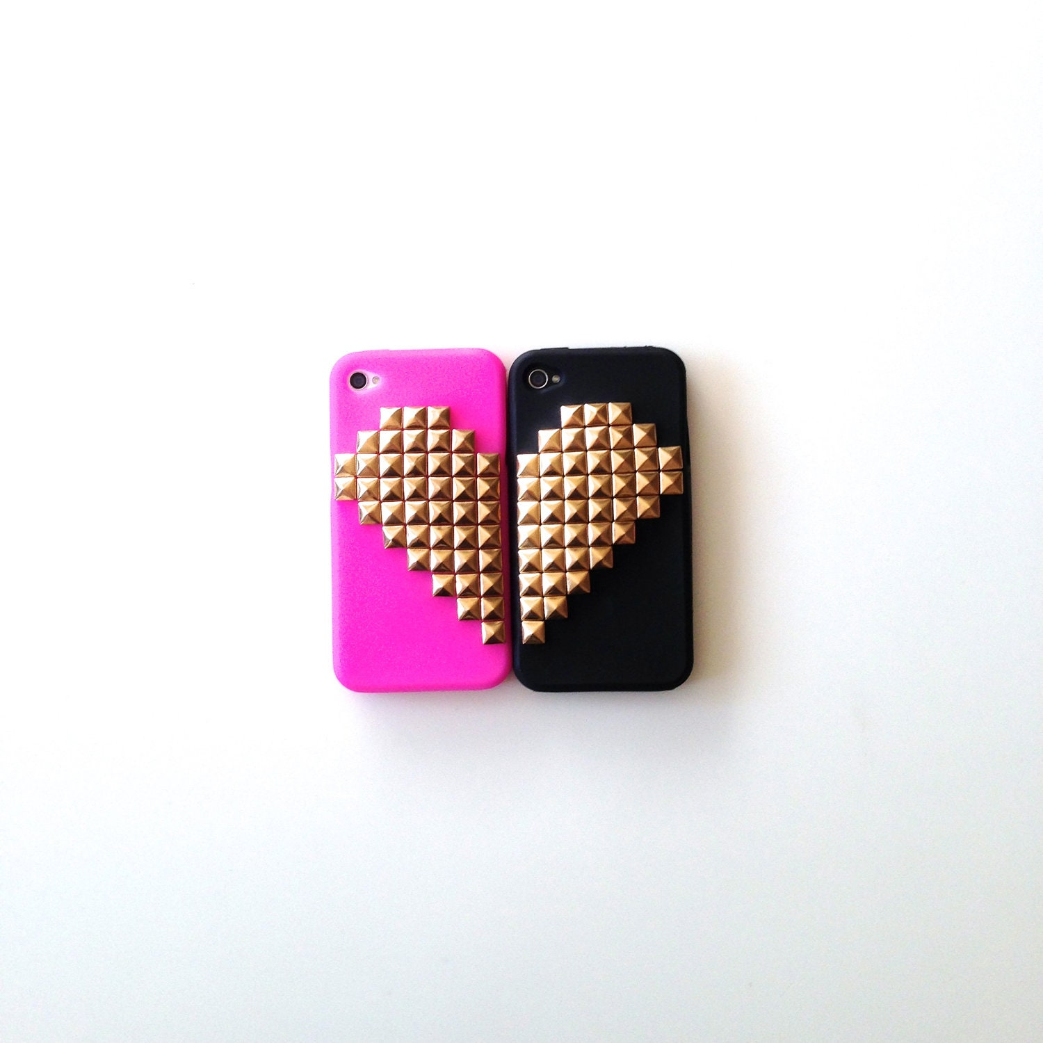 Best Friends Black and Hot Pink Studded iPhone 4 4s Silicone Case