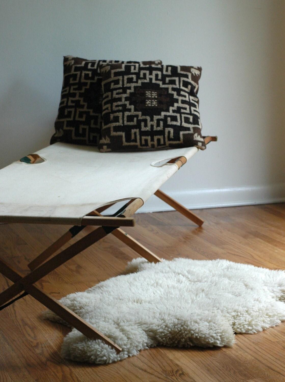 Vintage Camping Cot, White Canvas - bonnbonn