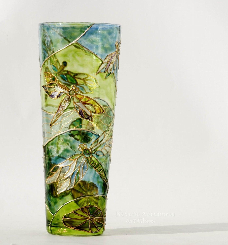 Dragonfly Ручная роспись стеклянной вазе в мягкий зеленый золотой, голубой, пастельный фиолетовый, кристаллами Сваровски