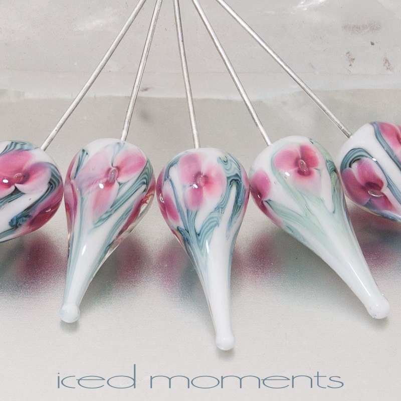 Lampwork Headpins - Bloom teardrops (1) - pink on white with sterling silver wire - by Jennie Yip - IcedMoments