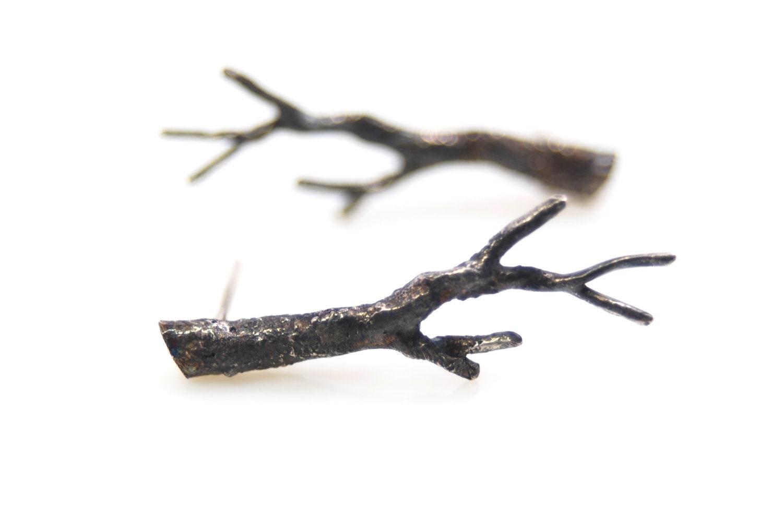 sterling silver twig earrings- branch earrings- handmade artisan jewelry- OOAK- Winter Branch - AnnealedHeart