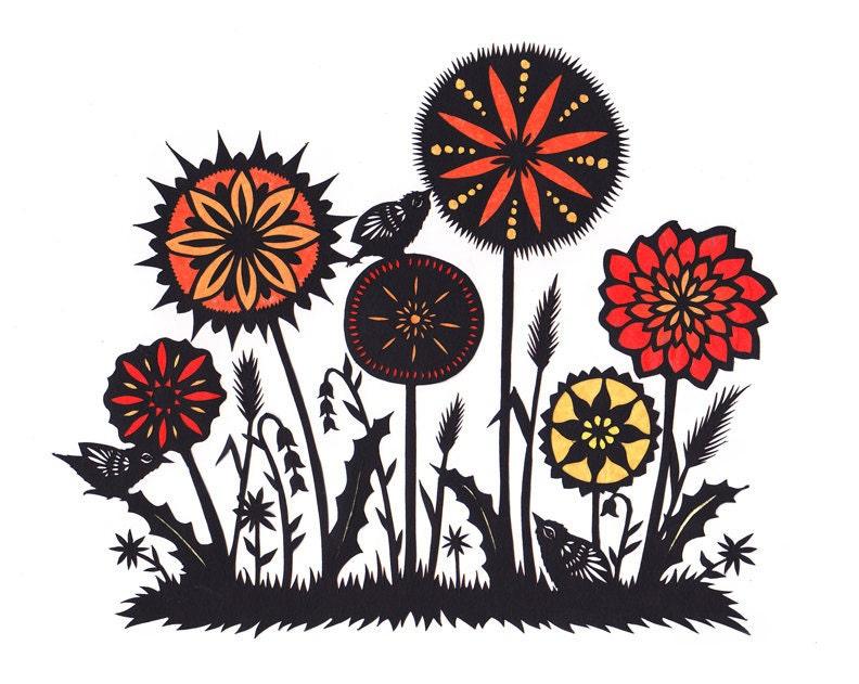 Garden Variety 1 - Cut Paper Art Print - ruralpearl