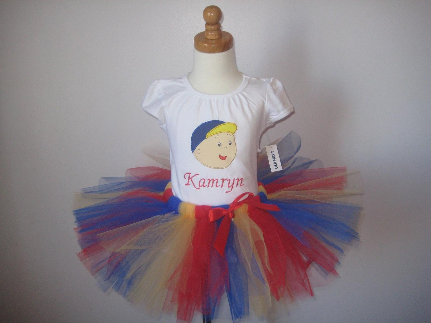 caillou outfit  tshirt and tutu set  long or short sleeves 12 18 24 2t 3t 4t 5