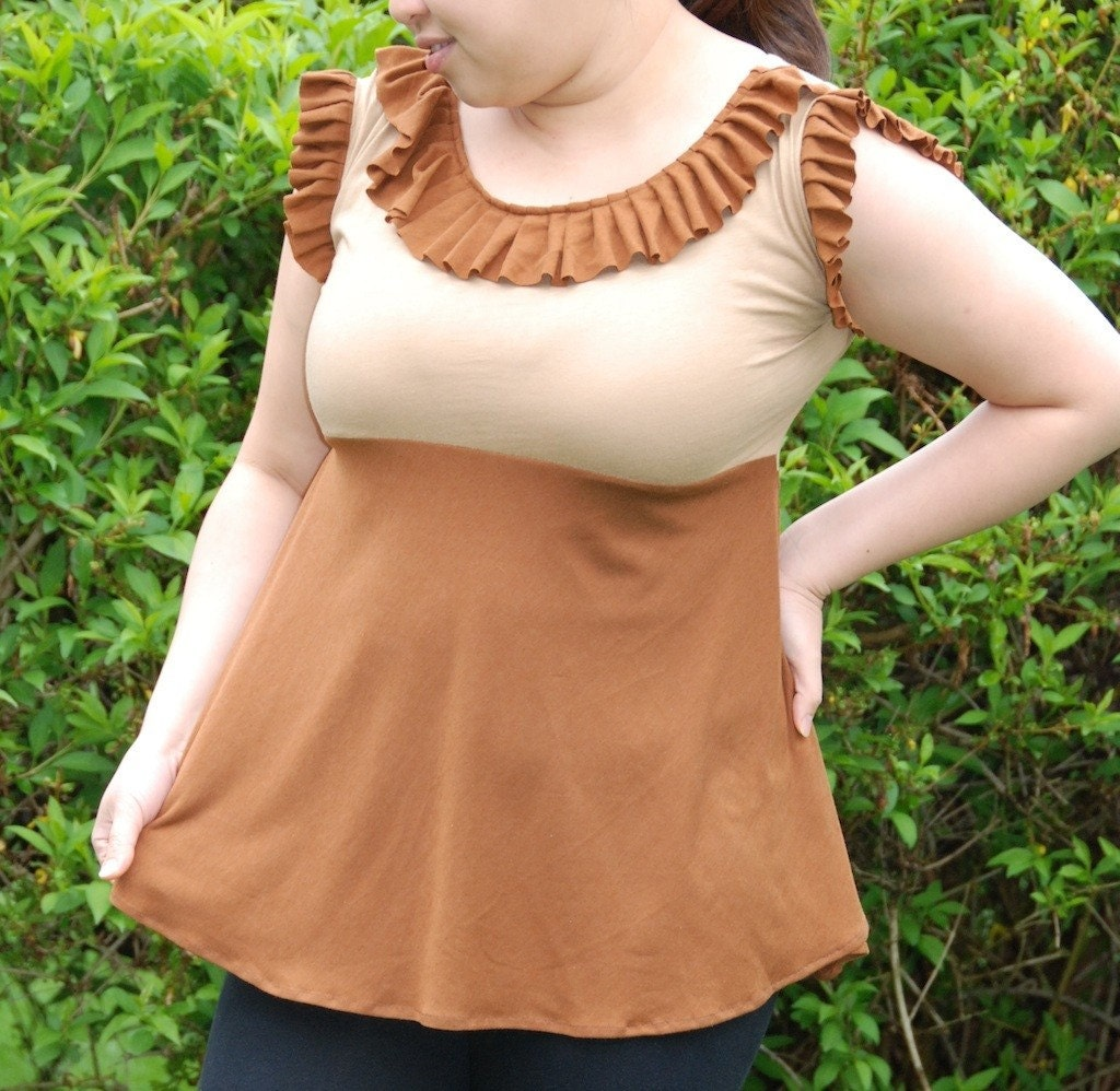 Topsy Curvy Coffe Mocha Ruffle Top ..... XL only -Now available in ECO FRIENDLY Bamboo and Cotton Blend Fabric